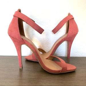 Pink Faux Suede Open Toe Heel - Size 6 - NWT
